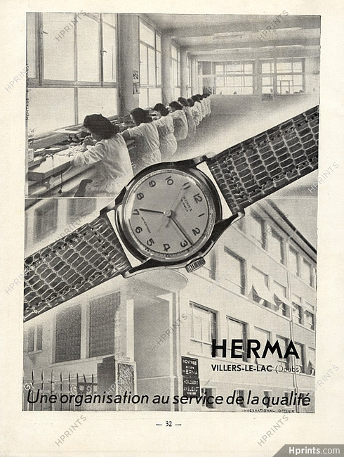 Herma Watches 1950 Factory Watches Vintage French Original Advert