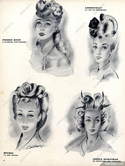 Hairstyle 1945 Lebreuilly Michel Gisele Dumatras Original