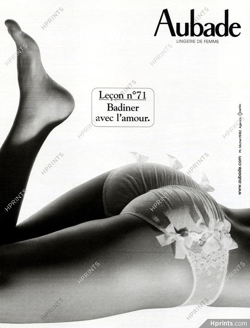super cute cozy fresh classic style Aubade 2006 Leçon n°71 — Advertisements