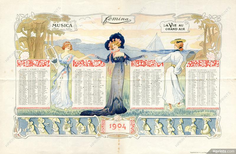 Calendrier Prenoms.Lucien Metivet 1904 Calendrier De Femina Calendar Belle