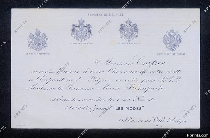 Cartier Leaflet 1907 Invitation Card For The Exhibition Of