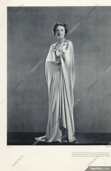Molyneux Couture 1935 Pink Satin Evening Gown And Cape Photo