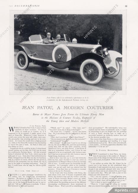 Jean Patou, A Modern Couturier, 1924 - Sportsman, Farman Racing