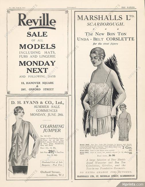 Marshalls & Snelgrove (Corsetmaker) 1926 — Lingerie