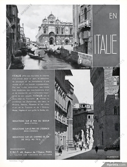 Office du tourisme italie italia 1936 venise florence - Office tourisme italien a paris ...