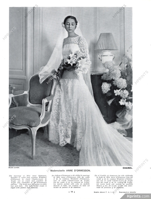Chanel Couture 1934 Wedding Dress Anne D Ormesson Lucien