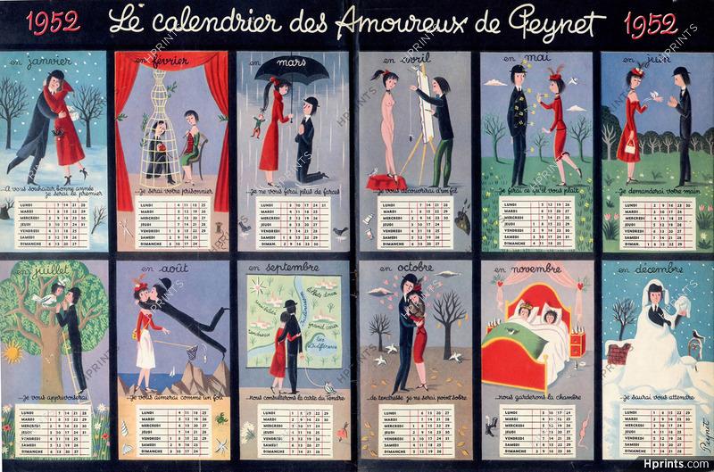 Calendrier 1951.Raymond Peynet 1951 Le Calendrier Des Amoureux De Peynet De 1952