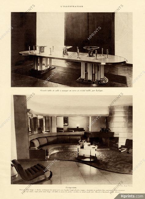 Lalique 1933 Grande Table De Salle à Manger En Verre Et Cristal Taillé