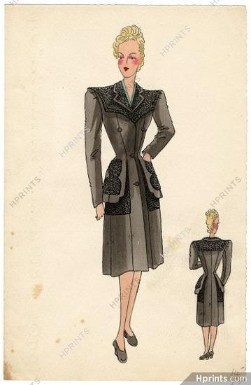 Robert Piguet Couture 1940s Original Fashion Drawing Indian