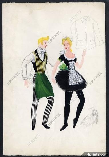 Georges Wakhevitch 1950 Original Costume Design Frivolités Le