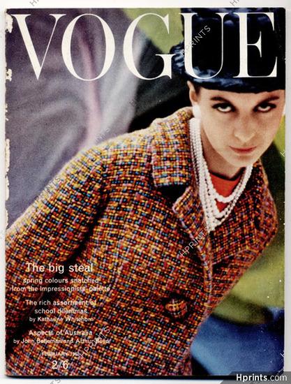 UK Vogue British Magazine 1963 February, Spring colours: the