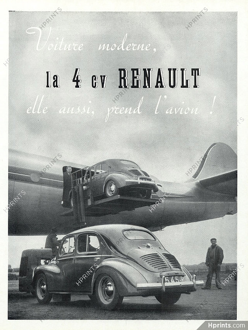 renault 1949 la 4cv prend l u0026 39 avion    u2014 automobiles  u2014 vintage french original advert