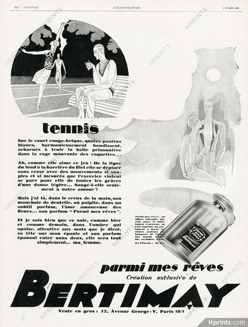 Bertimay Perfumes 1929 Tennis Henri Mercier Perfumes