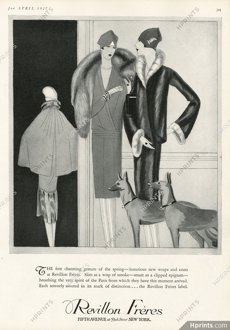 Revillon 1927 Fur Coat, Dogs — Fur clothing — vintage French