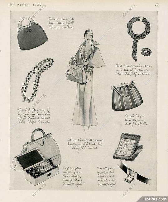 4d3d04347047 Patou, Hermès, Dobbs, Saks Fifth Avenue, Chanel 1930 Fashion Goods, Hangbag