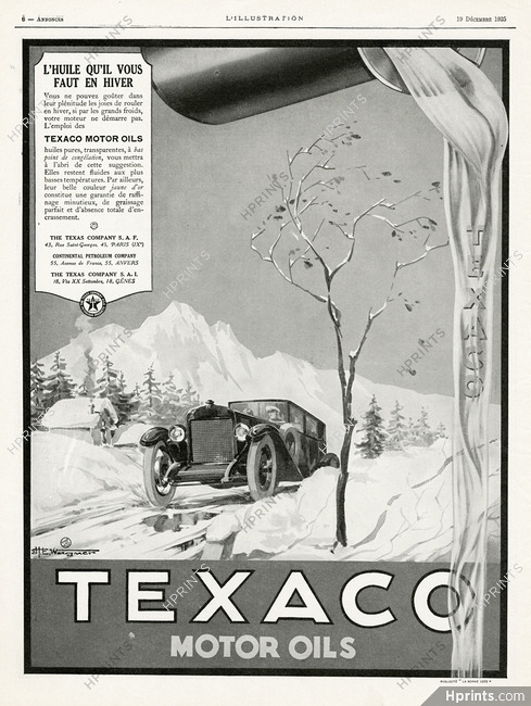Texaco 1925 Wagner — Car Accessories — vintage French original advert