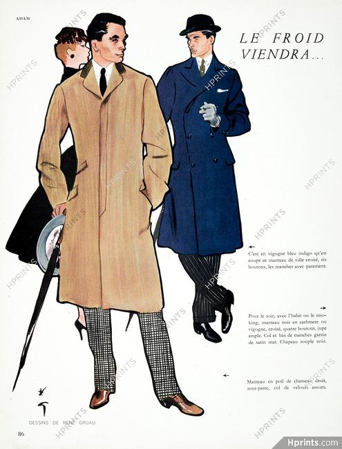 René Gruau HommesMen's Illustration 1955 Manteaux Fashion Pour QrshdCBtx
