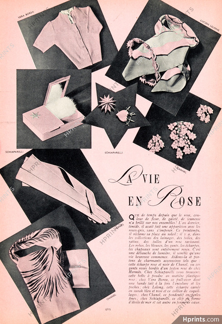 47efadfffd46 Fashion goods 1939 La Vie en Rose, Chanel, Véra Boréa, Hermès (Gloves