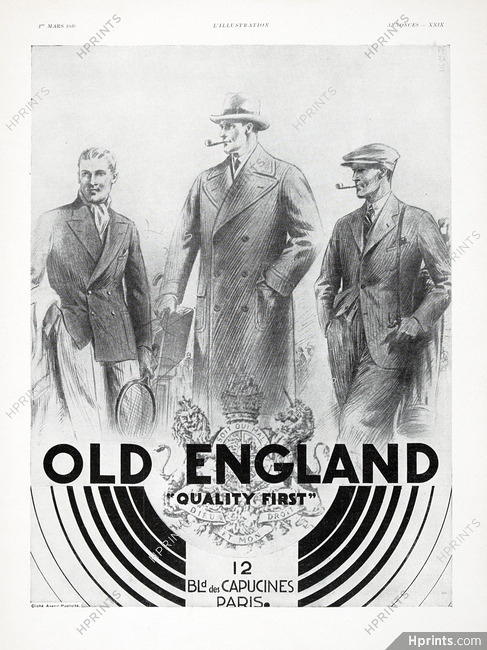 Old England 1930 Men\u0027s Clothing \u2014 Advertisements