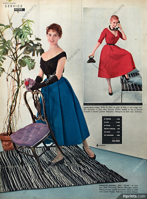 Brigitte Bardot 1954 Jupe Fath Universite